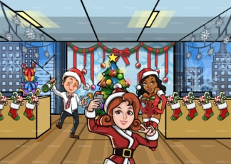 People having office christmas party. PNG - JPG and vector EPS file formats (infinitely scalable). Image isolated on transparent background.