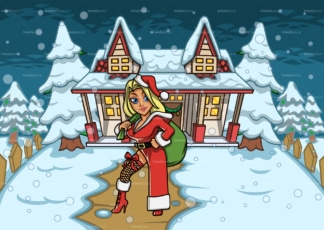 Sexy female santa claus outside snowed house. PNG - JPG and vector EPS file formats (infinitely scalable). Image isolated on transparent background.