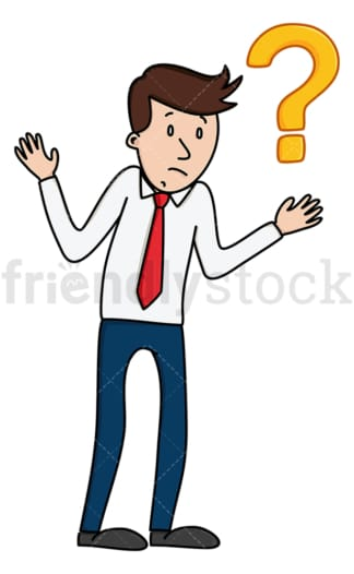 Uncertain businessman shrugging. PNG - JPG and vector EPS (infinitely scalable).