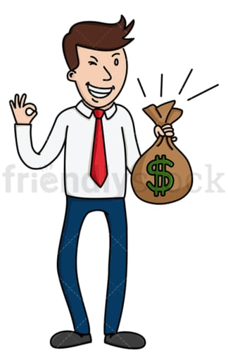 Winking man holding money bag. PNG - JPG and vector EPS (infinitely scalable).