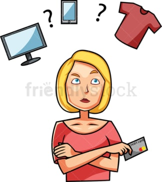 Woman trying to make a buying decision. PNG - JPG and vector EPS file formats (infinitely scalable). Image isolated on transparent background.