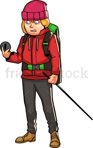 Woman with hiking gear looking at compass. PNG - JPG and vector EPS file formats (infinitely scalable). Image isolated on transparent background.