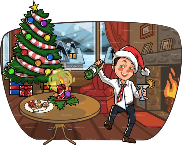 Drunk man in living room at christmas. PNG - JPG and vector EPS file formats (infinitely scalable). Image isolated on transparent background.