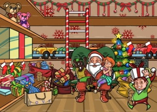 Santa and two kids hanging out at Santa's workshop. PNG - JPG and vector EPS file formats (infinitely scalable). Image isolated on transparent background.