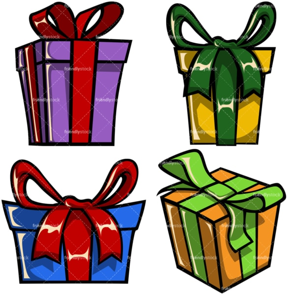 Wrapped gift boxes. PNG - JPG and vector EPS file formats (infinitely scalable). Image isolated on transparent background.