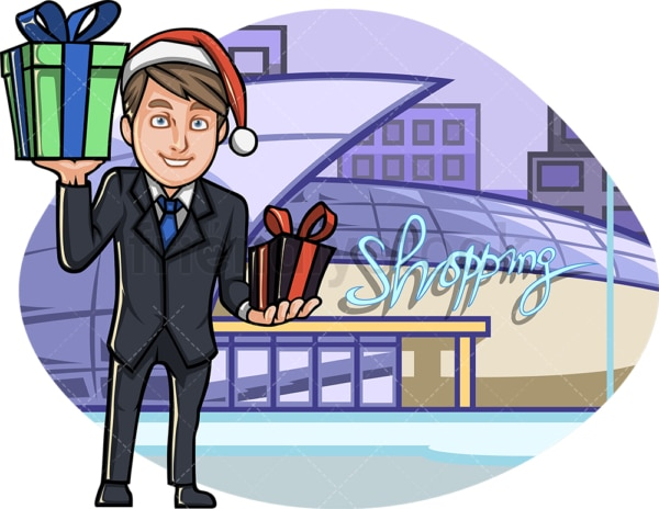 Man holding christmas presents at shopping mall. PNG - JPG and vector EPS file formats (infinitely scalable). Image isolated on transparent background.