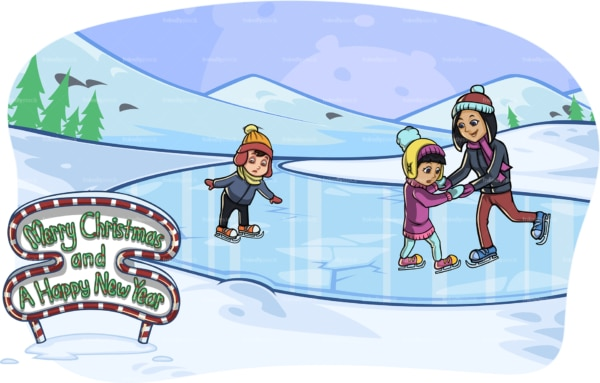Mother & kids ice skating at christmas. PNG - JPG and vector EPS file formats (infinitely scalable). Image isolated on transparent background.