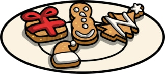 Christmas cookies on a plate. PNG - JPG and vector EPS file formats (infinitely scalable). Image isolated on transparent background.