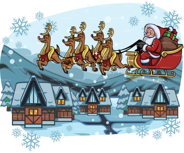 Santa claus flying over a village. PNG - JPG and vector EPS file formats (infinitely scalable). Image isolated on transparent background.