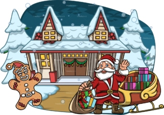 Santa claus near house covered in snow. PNG - JPG and vector EPS file formats (infinitely scalable). Image isolated on transparent background.