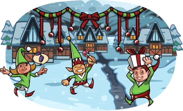 Christmas elves in village covered in snow. PNG - JPG and vector EPS file formats (infinitely scalable). Image isolated on transparent background.
