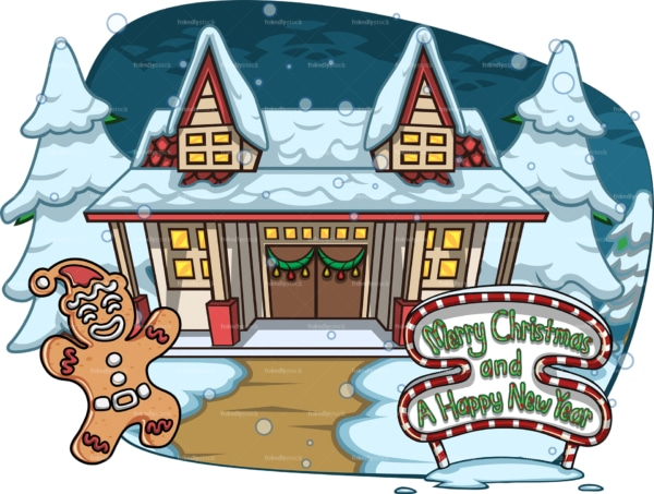 Merry christmas poster with house covered in snow. PNG - JPG and vector EPS file formats (infinitely scalable). Image isolated on transparent background.
