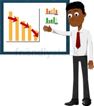 Black businessman dealing with a massive drop in sales. PNG - JPG and vector EPS file formats (infinitely scalable). Image isolated on transparent background.