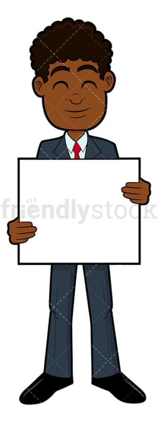 Black businessman holding an empty sign. PNG - JPG and vector EPS file formats (infinitely scalable). Image isolated on transparent background.