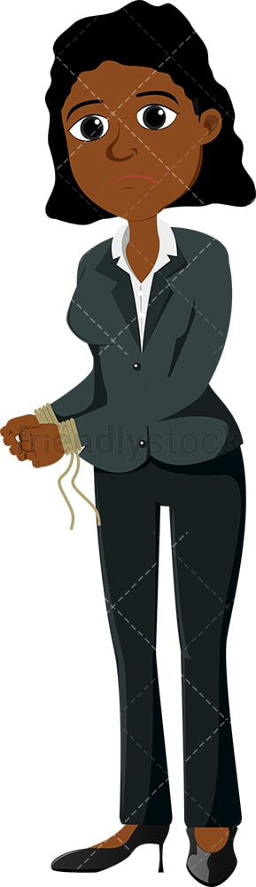 Black female entrepreneur with her hands tied up. PNG - JPG and vector EPS file formats (infinitely scalable). Image isolated on transparent background.