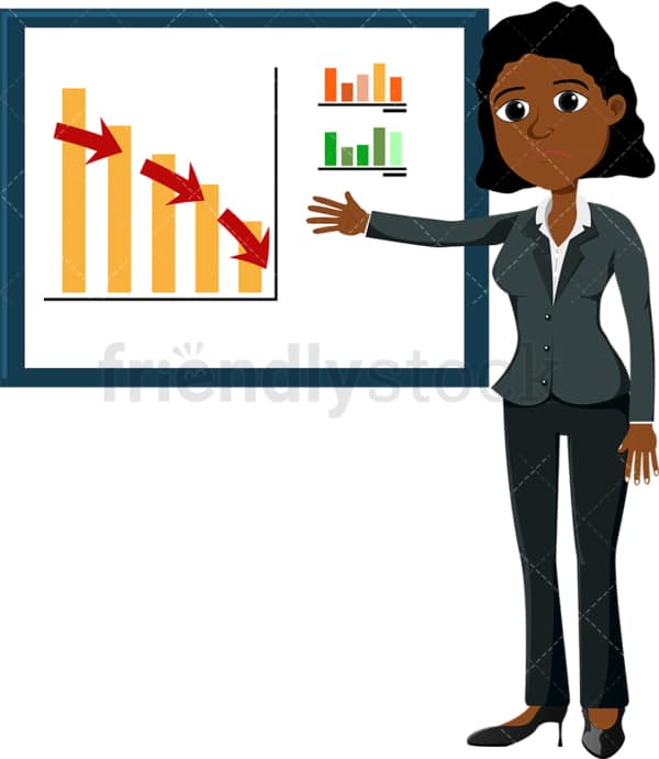 Black female pointing to graph showing downward trend. PNG - JPG and vector EPS file formats (infinitely scalable). Image isolated on transparent background.