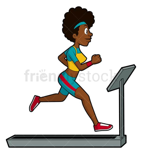 Black girl running on treadmill. PNG - JPG and vector EPS file formats (infinitely scalable). Image isolated on transparent background.