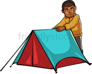 Black man by his tent while camping outdoors. PNG - JPG and vector EPS file formats (infinitely scalable). Image isolated on transparent background.