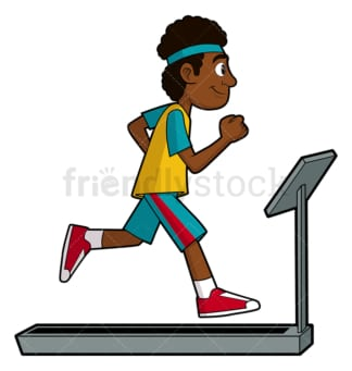 Black man exercising on treadmill. PNG - JPG and vector EPS file formats (infinitely scalable). Image isolated on transparent background.
