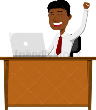 Black man seated behind desk and cheering. PNG - JPG and vector EPS file formats (infinitely scalable). Image isolated on transparent background.