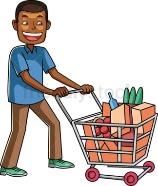 Black man shopping at the grocery store. PNG - JPG and vector EPS file formats (infinitely scalable). Image isolated on transparent background.