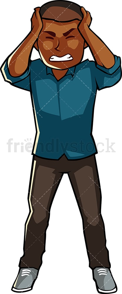 Black man suffering headache. PNG - JPG and vector EPS file formats (infinitely scalable). Image isolated on transparent background.