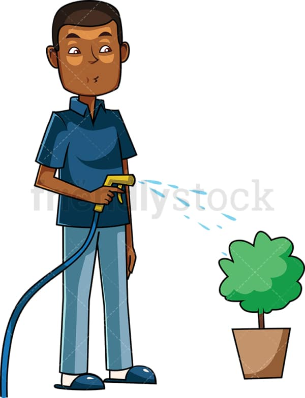 black man watering plant. PNG - JPG and vector EPS file formats (infinitely scalable). Image isolated on transparent background.
