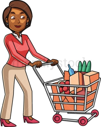 Black woman grocery shopping. PNG - JPG and vector EPS file formats (infinitely scalable). Image isolated on transparent background.