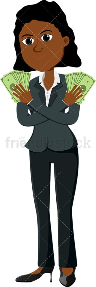 Black woman holding money with both hands. PNG - JPG and vector EPS file formats (infinitely scalable). Image isolated on transparent background.