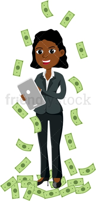 Black woman standing amidst money rain with tablet. PNG - JPG and vector EPS file formats (infinitely scalable). Image isolated on transparent background.
