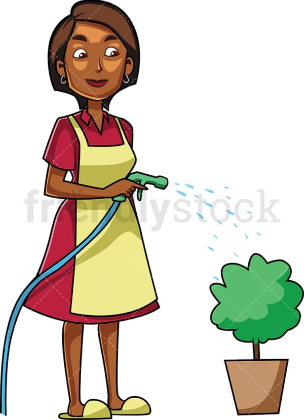 Black woman watering small shrub. PNG - JPG and vector EPS file formats (infinitely scalable). Image isolated on transparent background.