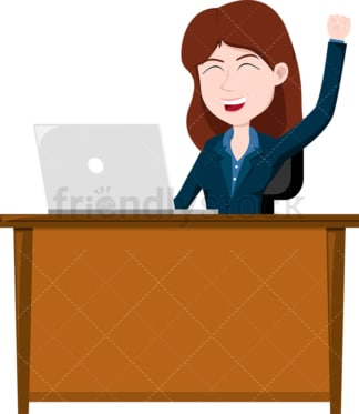 Woman behind desk raising her fist into the air. PNG - JPG and vector EPS file formats (infinitely scalable). Image isolated on transparent background.