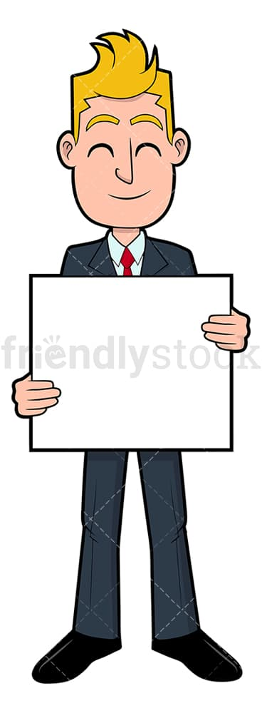 Businessman holding sign. PNG - JPG and vector EPS file formats (infinitely scalable). Image isolated on transparent background.