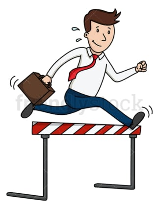 Businessman jumping over hurdle. PNG - JPG and vector EPS (infinitely scalable).