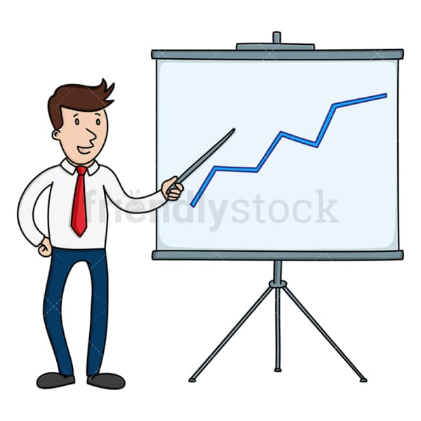 Businessman pointing to chart showing progress. PNG - JPG and vector EPS file formats (infinitely scalable). Image isolated on transparent background.