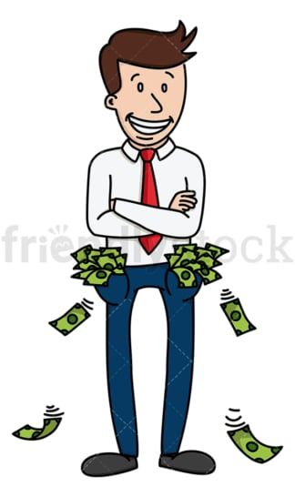 Businessman with wads of cash in pockets. PNG - JPG and vector EPS (infinitely scalable).