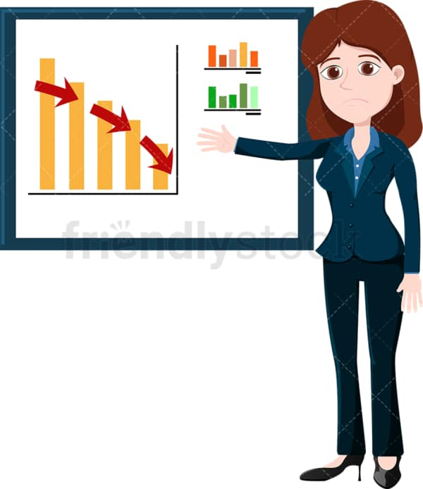 Businesswoman pointing to a downwards trending graph. PNG - JPG and vector EPS file formats (infinitely scalable). Image isolated on transparent background.