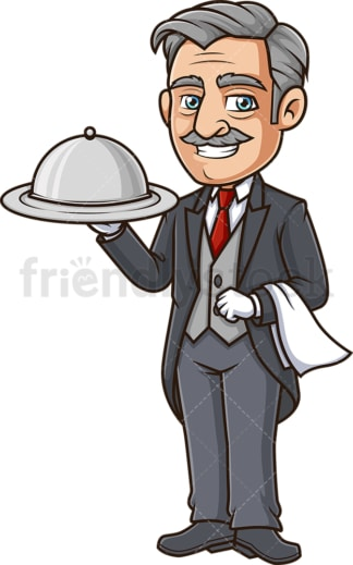 Butler with silver tray. PNG - JPG and vector EPS (infinitely scalable).