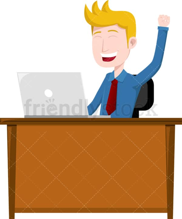 Celebrating man seated behind desk. PNG - JPG and vector EPS file formats (infinitely scalable). Image isolated on transparent background.