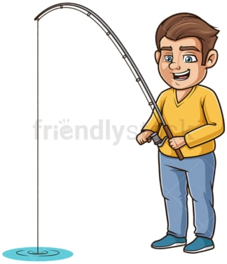 Chubby man fishing. PNG - JPG and vector EPS (infinitely scalable).