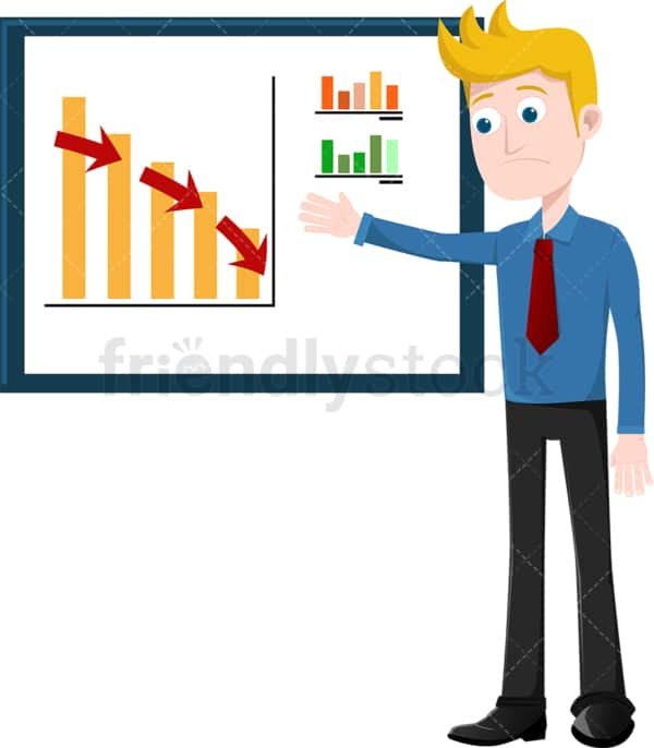 Corporate man presenting dismal facts at meeting. PNG - JPG and vector EPS file formats (infinitely scalable). Image isolated on transparent background.
