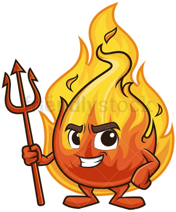 Devil flame mascot on fire. PNG - JPG and vector EPS (infinitely scalable).