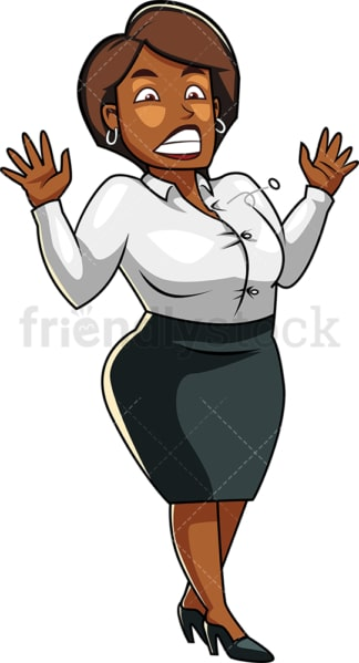 Fat black woman button popping off jacket. PNG - JPG and vector EPS file formats (infinitely scalable). Image isolated on transparent background.