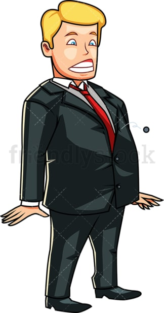 Fat man staring at button popping off his jacket. PNG - JPG and vector EPS file formats (infinitely scalable). Image isolated on transparent background.