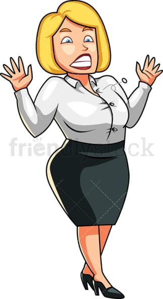 Fat woman button popping off her jacket. PNG - JPG and vector EPS file formats (infinitely scalable). Image isolated on transparent background.