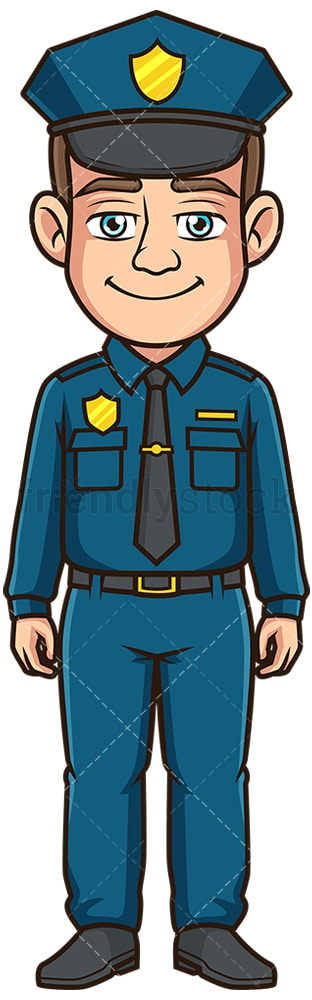 Friendly police officer front view. PNG - JPG and vector EPS file formats (infinitely scalable). Image isolated on transparent background.