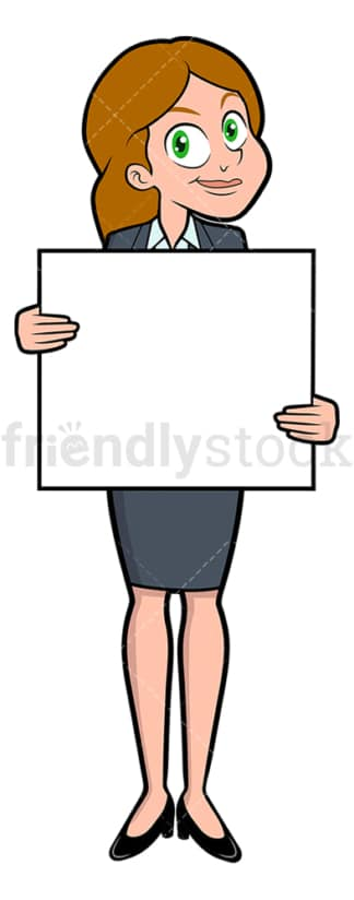 Happy businesswoman holding white sign. PNG - JPG and vector EPS file formats (infinitely scalable). Image isolated on transparent background.