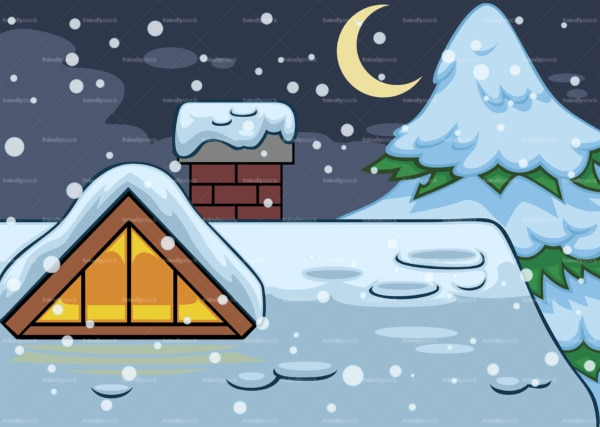 House roof covered in snow background. PNG - JPG and vector EPS file formats (infinitely scalable). Image isolated on transparent background.