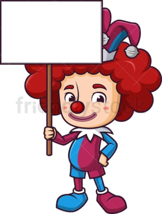 Jester holding blank sign. PNG - JPG and vector EPS (infinitely scalable).