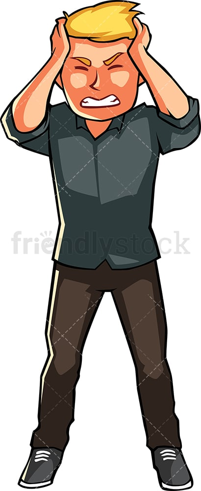 Man having terrible headache. PNG - JPG and vector EPS file formats (infinitely scalable). Image isolated on transparent background.